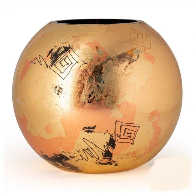 Fidrio Mondgeblazen en handbeschilderde Fidrio Bolvase  Golden art vaas 40cm.