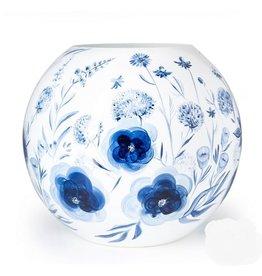 Fidrio Mondgeblazen en handbeschilderde Fidrio Bolvase Dutch blue vaas 40cm.