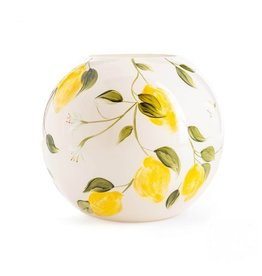 Fidrio Mondgeblazen en handbeschilderde Fidrio Bolvase limon vaas 40cm.