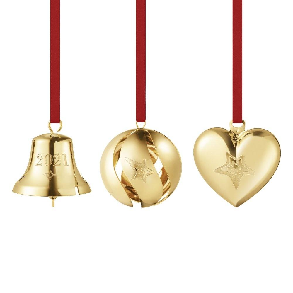 Georg Jensen Kerst 2021 Giftset Hangers Bal/Bel/Hart Set van 3 Stuks