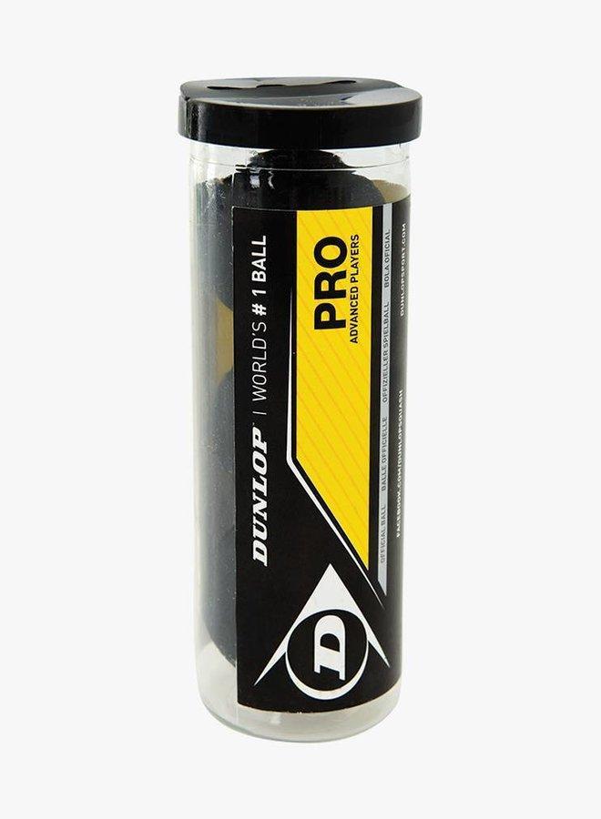 Dunlop Pro Squashball (doppelter gelber Punkt) - 3er Tube