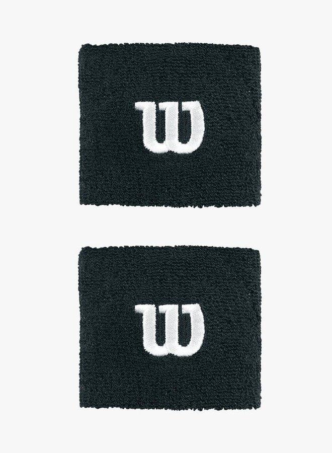 Wilson 'W' Schweißband - 2er Pack - Schwarz