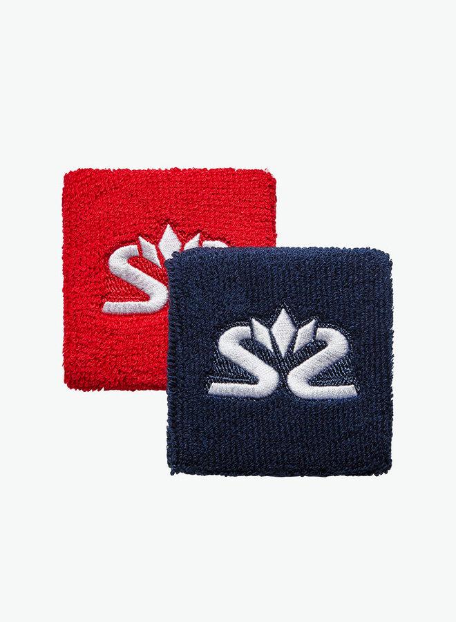 Salming Schweißband Short - 2er Pack - Rot / Dunkelblau