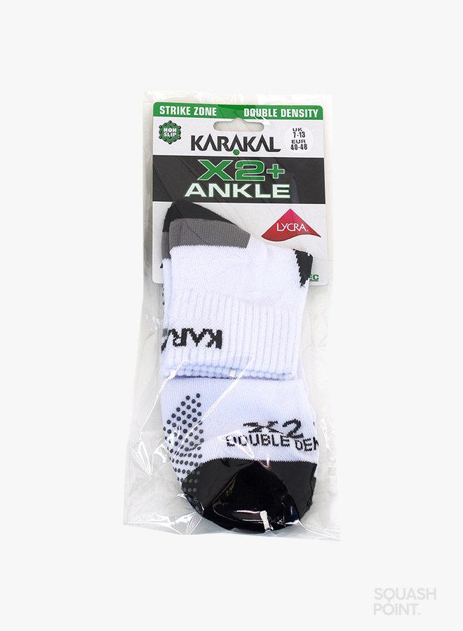 Karakal X2-Technical Ankle Herrensocken - Weiß / Schwarz