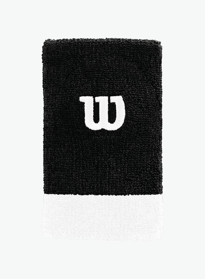 Wilson Extra Wide 'W' Schweißband - 2er Pack - Schwarz / Weiß