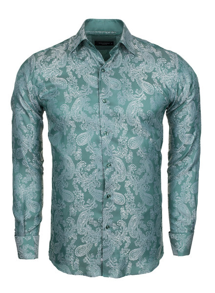 Makrom Printed Satin Long Sleeved Shirt SL 446 GREEN L