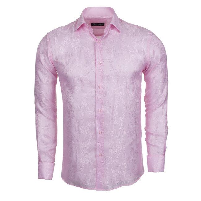 Printed Satin Long Sleeved Shirt SL 446 PINK L