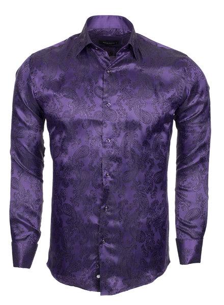 Makrom Printed Satin Long Sleeved Shirt SL 446 PURPLE 2 M