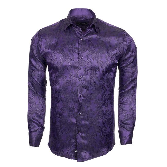 Printed Satin Long Sleeved Shirt SL 446 PURPLE 2 M