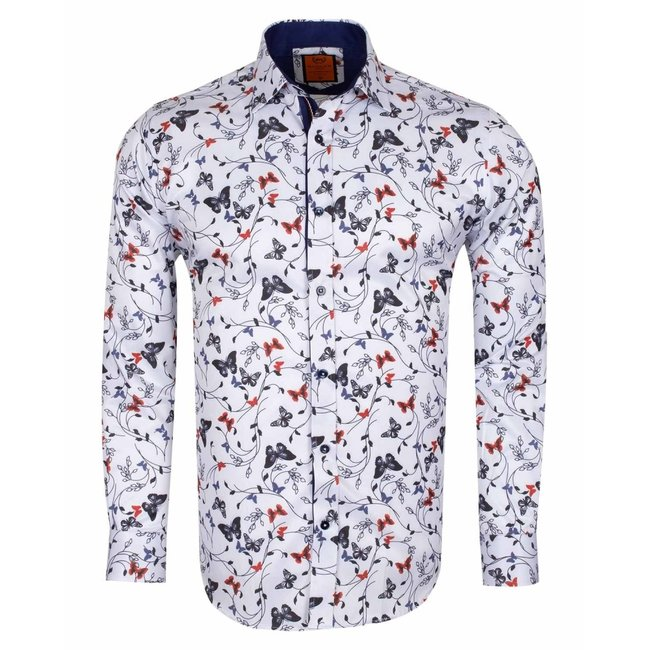 Flower and Butterfly Printed Shirt SL 6571 WHITE S