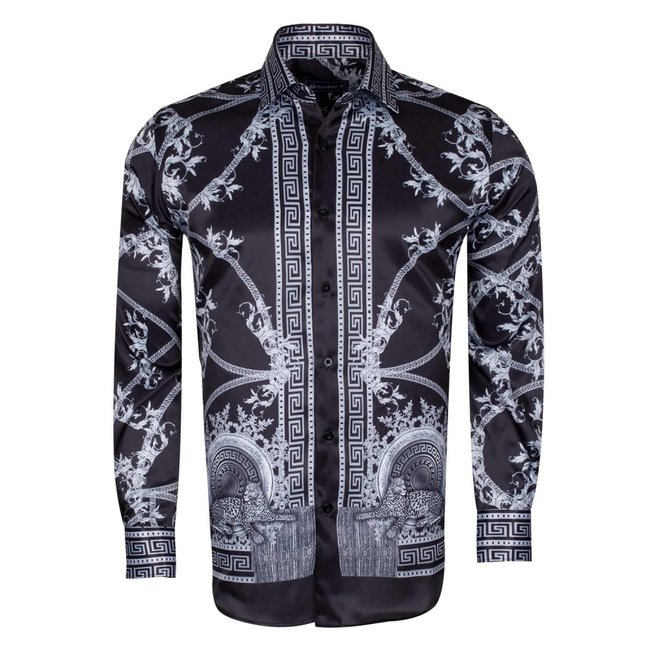 Oscar Banks Gold and Silver Pattern Printed Satin Shirt SL 6602 BLACK XXL