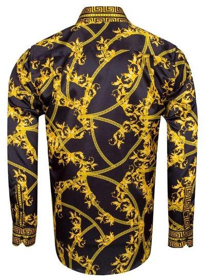 Oscar Banks Gold and Silver Pattern Printed Satin Shirt SL 6602 YELLOW S