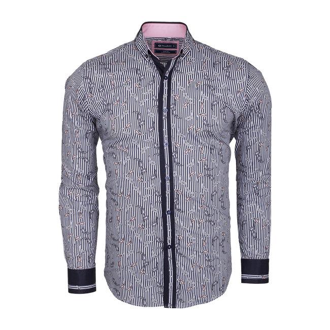 Oscar Banks Paisley Printed and Striped Long Sleeved Shirt SL 524 DARK BLUE S