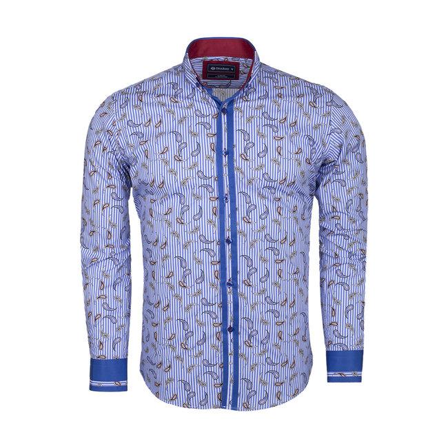 Oscar Banks Paisley Printed and Striped Long Sleeved Shirt SL 524 BLUE S