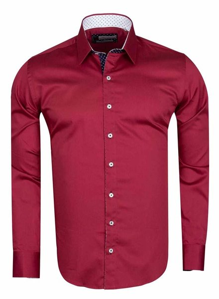 Franco Gilberto Long Sleeved Plain Colorful Shirt SL 571 BURGUNDY L