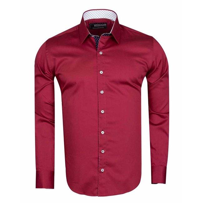 Long Sleeved Plain Colorful Shirt SL 571 BURGUNDY L
