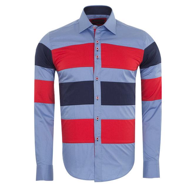 Plain Long Sleeved Shirt With Color Details SL 5195 BLUE M