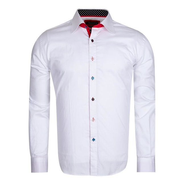 Multicolored Buttons Long Sleeved Plain Dress Shirt SL 5311 WHITE XL