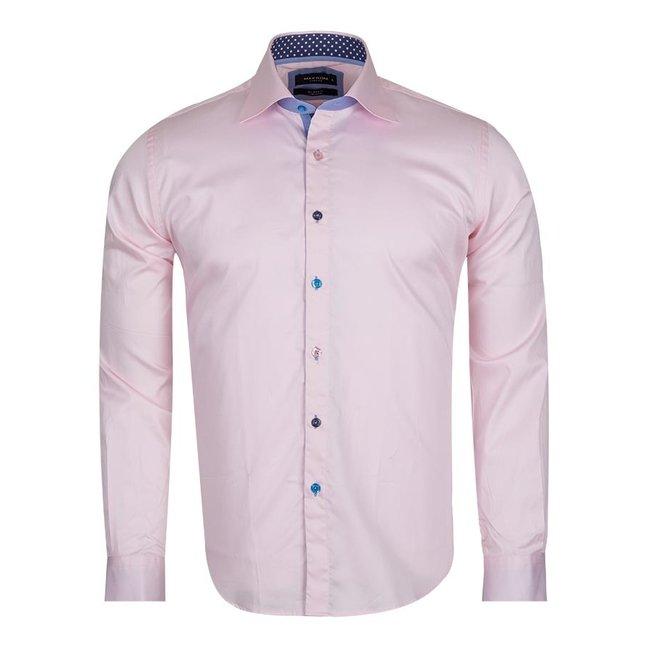 Multicolored Buttons Long Sleeved Plain Dress Shirt SL 5311 PINK L