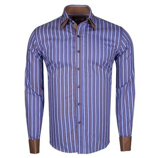 Double Cuff Long Sleeved Striped Shirt SL 5358 BROWN S