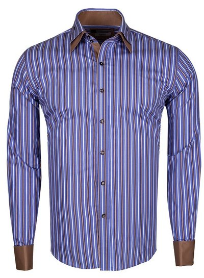 Franco Gilberto Double Cuff Long Sleeved Striped Shirt SL 5358 BROWN S