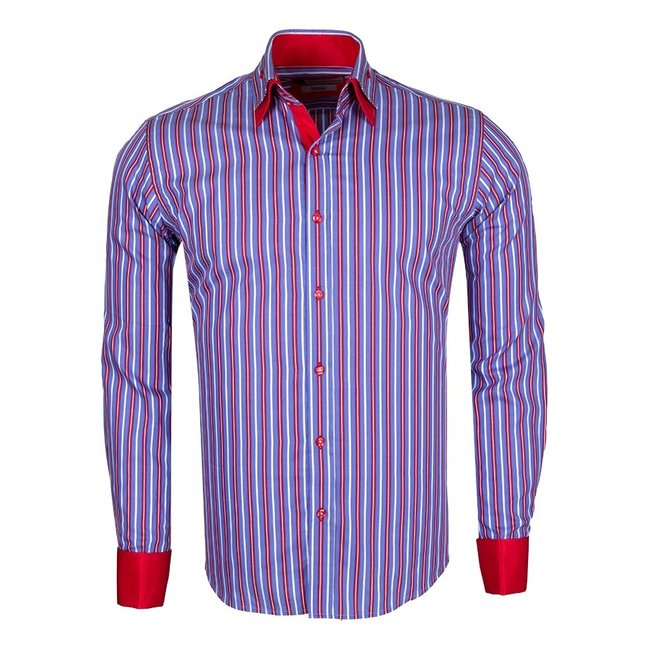 Double Cuff Long Sleeved Striped Shirt SL 5358 RED M