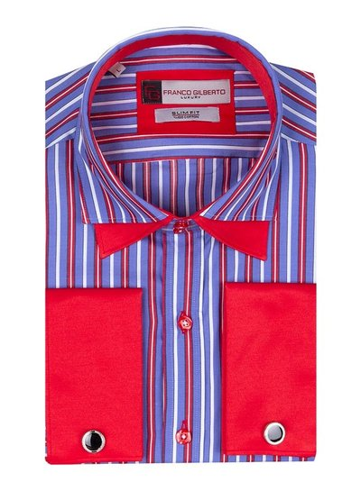 Franco Gilberto Double Cuff Long Sleeved Striped Shirt SL 5358 RED M