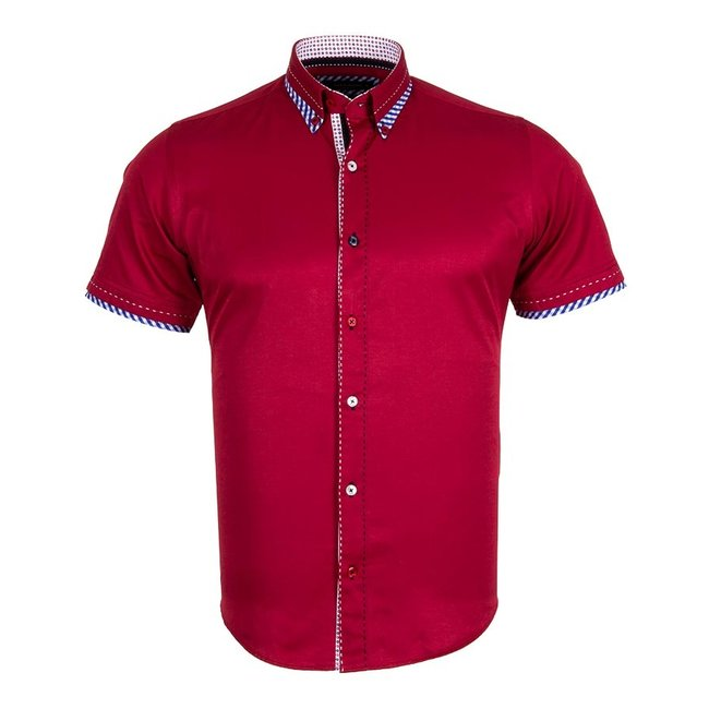Double Ply Placket Short Sleeved Shirt SS 6038 BURGUNDY S