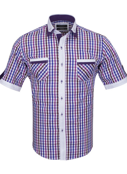Makrom Short Sleeved Checkhered Shirt With Chest Pocket SS 6042 COLOR A M