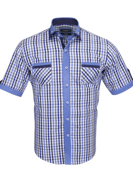 Makrom Short Sleeved Checkhered Shirt With Chest Pocket SS 6042 COLOR B M