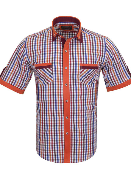 Short Sleeved Checkhered Shirt With Chest Pocket SS 6042 COLOR C M