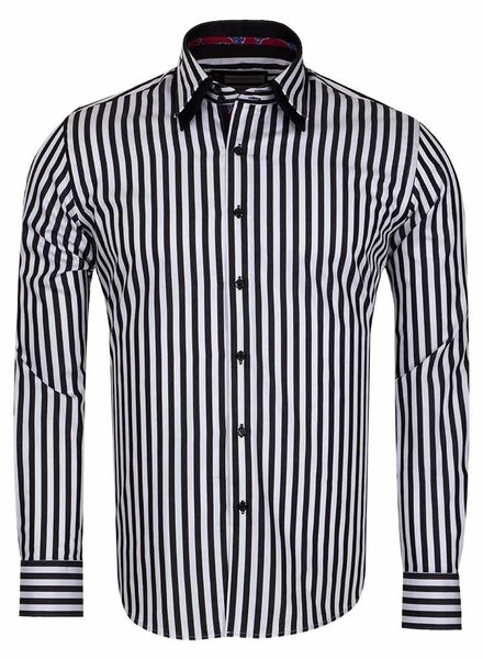 Franco Gilberto Contrasting Collar/Cuff Insert Striped Long Sleeved Shirt SL 5369 BLACK L