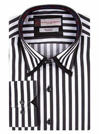 Franco Gilberto Contrasting Collar/Cuff Insert Striped Long Sleeved Shirt SL 5369 BLACK L