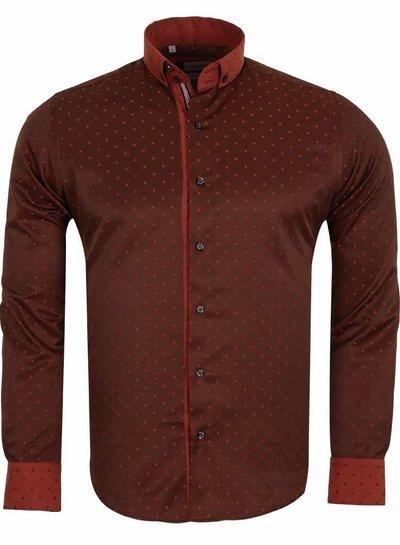 Franco Gilberto Franco Gilberto Printed Long Sleeved Mens Shirt SL 5486 BROWN S