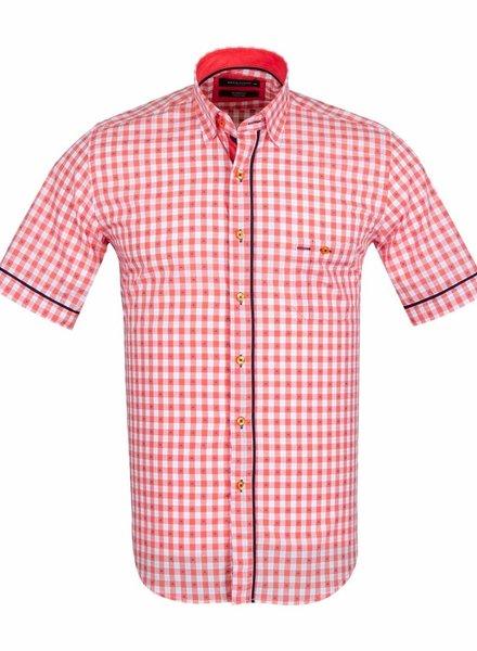 Makrom MAKROM Short Sleeved Checkhered Shirt SS 6049 ORANGE S