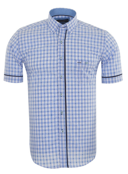 MAKROM Short Sleeved Checkhered Shirt SS 6049 BLUE S