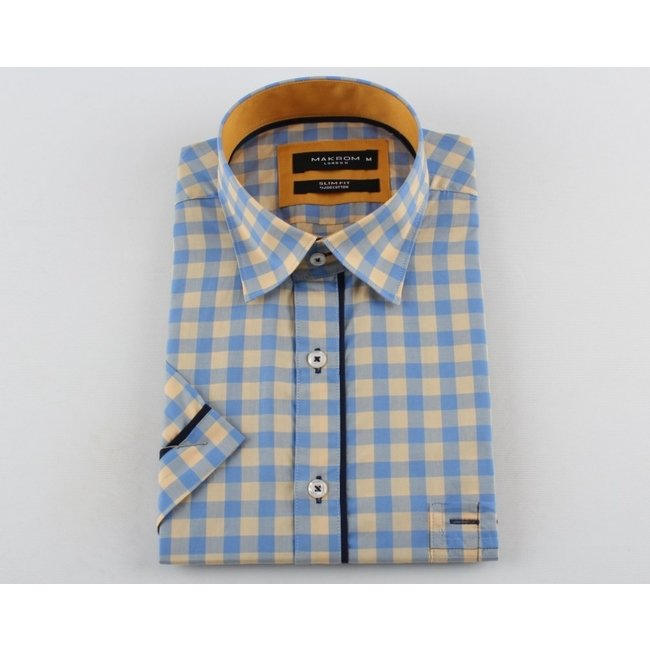 Checkhered Short Sleeved Shirt with Chest Pocket SS 6050 BEIGE S