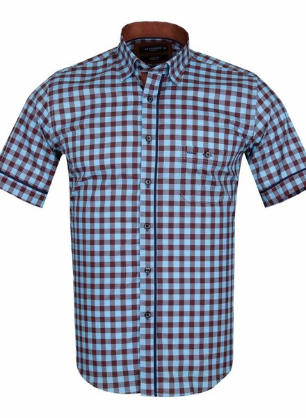 Checkhered Short Sleeved Shirt with Chest Pocket SS 6050 BROWN XL