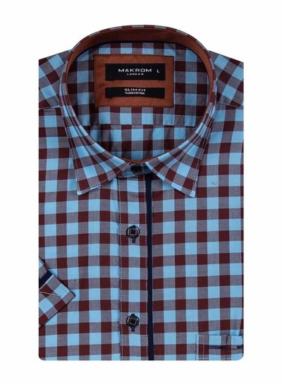 Makrom Checkhered Short Sleeved Shirt with Chest Pocket SS 6050 BROWN XL