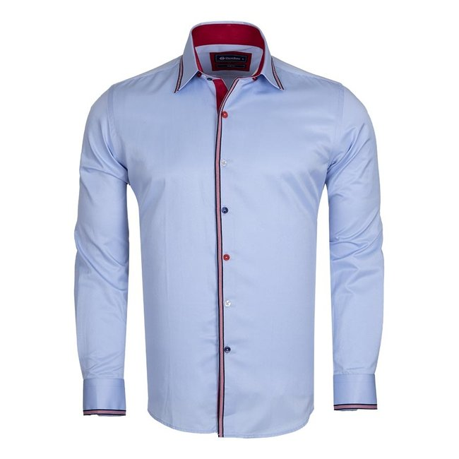 Oscar Banks Plain Long Sleeved Shirt with Inside Details SL 5613 BLUE M