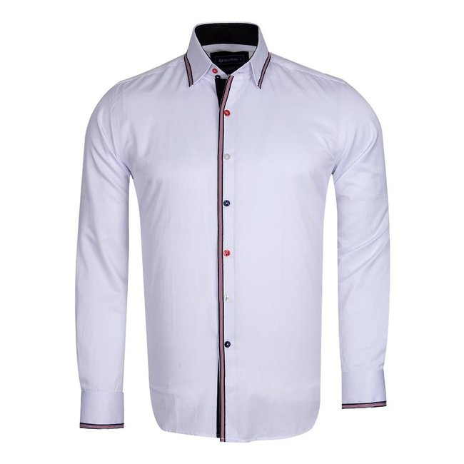 Oscar Banks Plain Long Sleeved Shirt with Inside Details SL 5613 WHITE L