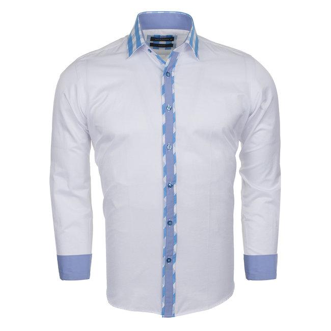 MAKROM Plain Long Sleeved Shirt with Details SL 5164 WHITE S