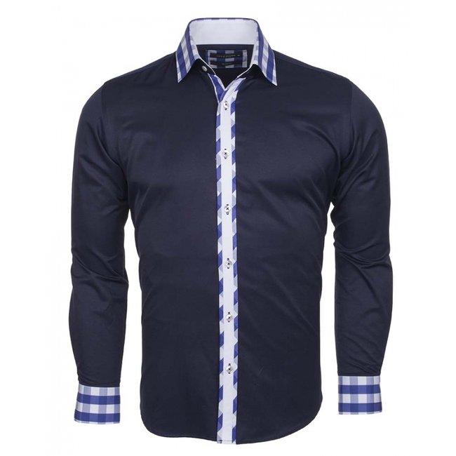 MAKROM Plain Long Sleeved Shirt with Details SL 5164 DARK BLUE S