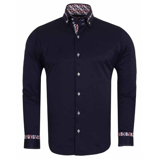 Designer Plain Long Sleeved Shirt with Inside Details SL 5829 DARK BLUE M