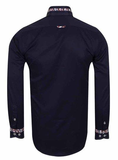 Makrom Designer Plain Long Sleeved Shirt with Inside Details SL 5829 DARK BLUE M