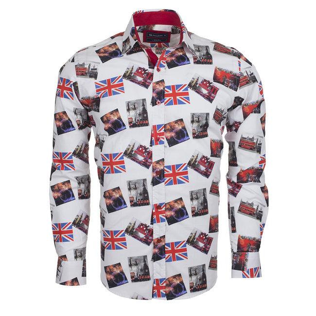 Oscar Banks London Places Printed Long Sleeved Shirt SL 5730 COLOR A S