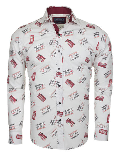Oscar Banks London Places Printed Long Sleeved Shirt SL 5730 COLOR C S