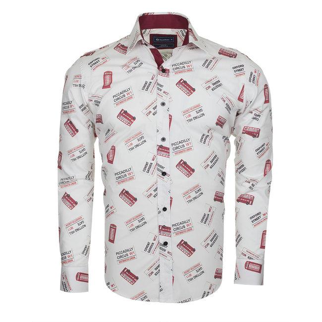 Oscar Banks London Places Printed Long Sleeved Shirt SL 5730 COLOR C S