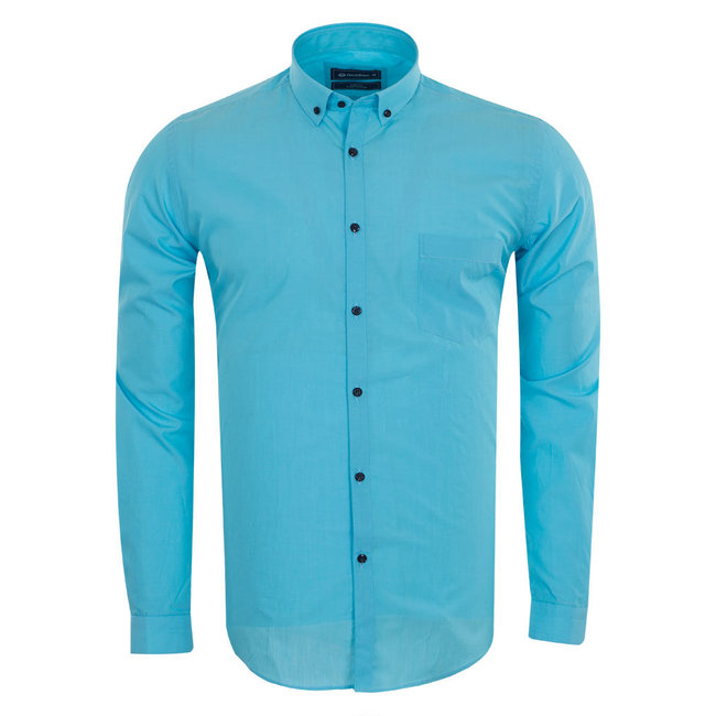 Oscar Banks SL 5793 Oscar Banks Mens Long Sleeved Shirt TURQUOİSE L