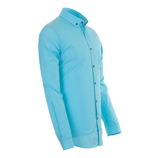 Oscar Banks SL 5793 Oscar Banks Mens Long Sleeved Shirt 702-TURQOISE S